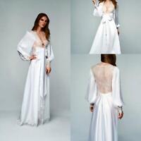 Night Robe Long Sleeve Illusion Lace Back Soft Silk Satin Sleepwear Dress Custom