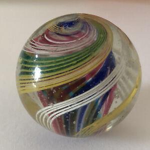 ANTIQUE LATTICINO DOUBLE SWIRL GLASS MARBLE @ 1900 - 24.46 MM