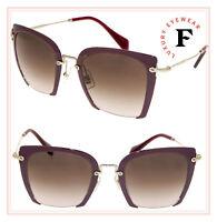 MIU MIU NOIR RASOIR 52R Square Burgundy Gold Metal Brown Sunglasses MU52RS