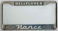 RARE Bellflower California Nance Chevrolet Vintage Dealer License Plate Frame