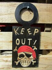 Hand Carved Made Wooden Skull Pirate Keep Out Gothic Wall Plaque Door Sign