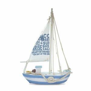 Deko Schale Boot 45x12x6cm Shabby Look maritime Deko weiß//blau Holzboot Füllboot