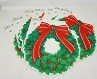 "Lot of 8 VTG CHRISTMAS USA DIECUT CARDBOARD DECORATION 11.5"" X 11.5"" WREATH BOW"