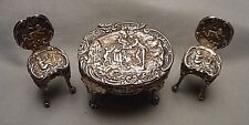 Miniature Sterling Repousse Table & 2 Chairs - L&S Birmingham England 1901