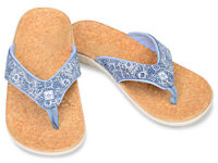 Women's Spenco Total Support Orthotic Flip Flops Sandals Blue Daisy Sz 7