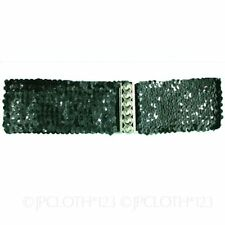 Patternless Sequined Wide Belts for Women