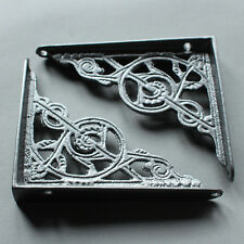 "2 x PEWTER 5x4"" SMALL ANTIQUE CAST IRON VICTORIAN WALL SHELF BRACKETS - BR02px2"