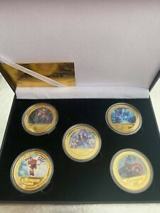 Marvel Avengers 5 Coin Gold Plated Box Set, Iron Man - Captain America - Thor