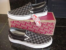 NIB! VANS CLASSIC SLIP ON Black/Pewter Charcoal Checkerboard Skate Shoe Men's 9