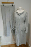 Kontrast lagenlook long grey linen jacket + trousers 42 12 14 VGC casual pattern