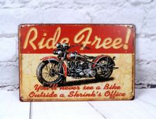 Ride Free Motorcycle Poster Vintage Metal Tin Signs Home Garage Wall Decor