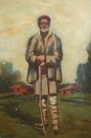 Impressionist portrait shepherd vintage oil painting
