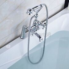 Black Oil Rubbed Brass Deck Mounted Clawfoot Tub Filler Faucet Handshower fcy006