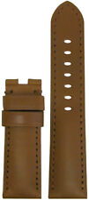 24mm Panatime Golden Brown Leather Watch Band w MS For Panerai Deploy