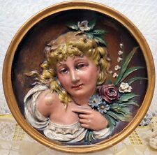 Bradley & Hubbard Cast Iron Plaque Painted Girl In Relief C-1810