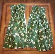 Vtg Pinch Pleated Lined Drapes Green with Daisys Short
