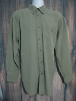 Orvis Mens size L Long Sleeve Button Front Green Checks Shirt Oxford Collar
