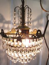 True Vintage Chandelier Bronze Victorian Crystal Wedding Cake 2 LIGHT