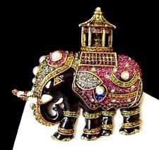 Stunning! Gold-Tone Black Enamel Elephant Pin/Brooch w/Colorful Crystals/Pearls