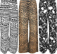 New Plus Size Womens Print Ladies Wide Leg Palazzo Trousers Pants 16 - 26
