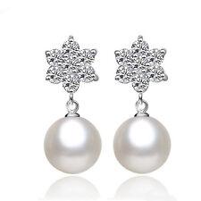 Elegant Zircon Pearl Drop Dangle Earrings Women's 925 Sterling Silver Jewelry