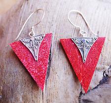 Ohrhänger 4 cm Koralle Rot Dreieck Eckig Silber Verspielt Ohrringe Floral Leicht