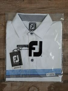 NEW FootJoy Mens Lisle Chestband Golf Polo Medium White/Lagoon/Navy 26586