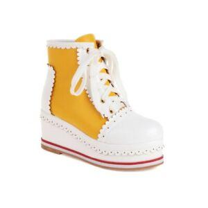 9 Colors Women's Oxfords Brogue Wedge Heel Platform Lolita Ankle Boots Outdoor L