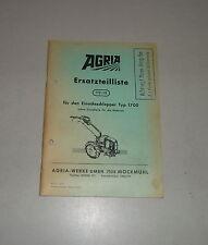 Catálogo de piezas/piezas de recambio lista agria motocultivadores Type 1700 stand 1971