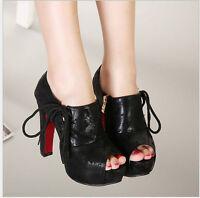 Ladies Womens Block Platform High Heels Peep Toe Ankle Shoes Boots Black/Blue UK