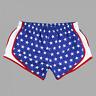 USA Patriotic Velocity Running Shorts Cheer Yoga Stars Red White Blue XS to 2X
