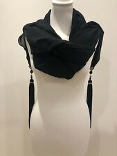 BNWOT JIKI DESIGNER BLACK CHIFFON EVENING WRAP CLEAR/BLACK CRYSTAL BEAD TASSELS