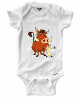 Infant Gerber Baby Onesies Bodysuit Clothes Outfit Gift Print Timon and Pumbaa