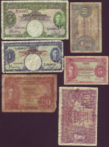 Malaya • 1941 • Six (6) Different Banknotes from 5 cents to $5