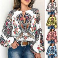 Womens Long Sleeve Print Blouse Ladies Casual Basic Tops Vacation Beach Shirt LI