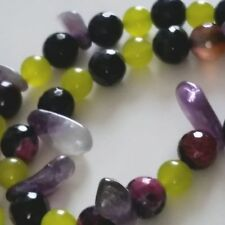 """Handmade GOODLUXE Amethyst & Jade Necklace with Sterling Silver Clasp 26"""""""