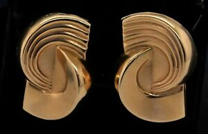 Vintage 14K yellow gold elegant high fashion chunky abstract clip on earrings