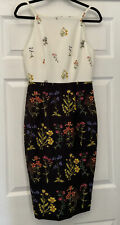 H&M 90s Neckline Floral Pencil Dress Black and White floral 10 Wildflowers