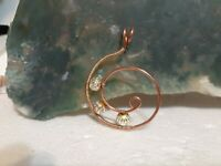 WOW one of a kind handcrafted artisan copper wire wrapped jewelry pendant. WOW!!