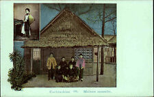 Salut COCHINCHINE Asia Litho-AK ~1900 Maison anamite Postcard Asia Asien Vietnam