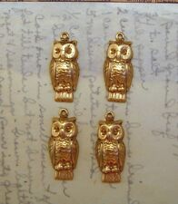 Raw Brass Owl Charms Stampings (4) - Ff0093-1 Jewelry Finding