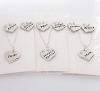 S.plated Family Charm Necklace,Chain,pkt,Mum,Nan,Sister,Birthday,xmas,girl,gift