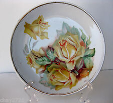VTG HARKER POTTERY SEMI-PORCELAIN DECORATIVE PLATE (YELLOW ROSES)