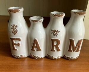 FARMhouse 4 Vases Milk Bottles Rustic Country Cottage Decor Charming! WOW!