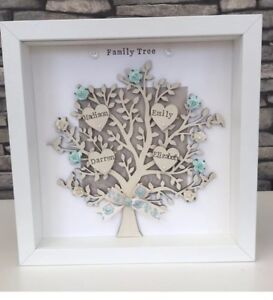Personalised Family Tree Frame Gift For Birthdays Fathers Day Grandparents