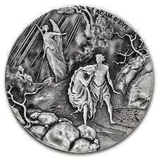 2016 Biblical Series Adam and Eve 2 oz .999 Silver Antiqued Finish USA Coin