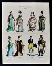 1880 Braun Costume Print - 19th C. Empire Style Dress Lady Gown Hat Douillette