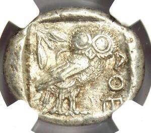 Near East / Egypt Athena Owl Athens Tetradrachm Coin (400 BC) - Certified NGC AU