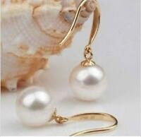 AAA+ 9-10mm round natural south sea white pearl dangle earrings 14k Yellow Gold