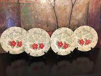 4 Hawaiian Red Pink Hibiscus Dinner Plates Tropical KIC Botanica Hand Painted
